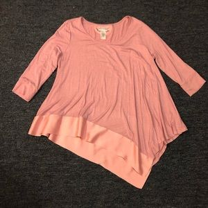 Soft Surroundings Pink asymmetrical tunic top LG